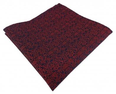 TigerTie Designer Einstecktuch in rot weinrot dunkelrot schwarz florales Muster