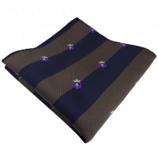 TigerTie Einstecktuch braun dunkelbraun dunkelblau gestreift mit Wappen