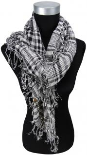 Halstuch grau schwarz silber kariert mit Fransen - Glitzerfaden + Silberknöpfe
