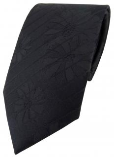 Designer Seidenkrawatte in schwarz gestreift mit Blumenmuster - Krawatte Seide