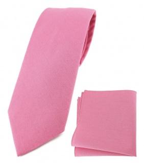 TigerTie Krawatte + Einstecktuch aus 100% Baumwolle in rosa pink Uni einfarbig