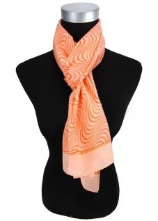 Satin Schal in orange lachs Wellenmuster - 100% Seide - Gr. 35 x 160 cm