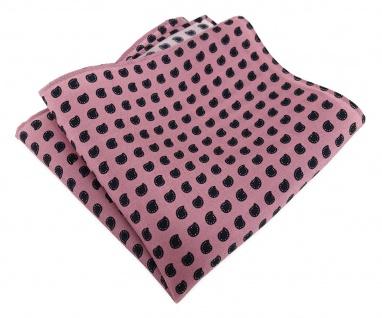 TigerTie Designer Seideneinstecktuch in rosa schwarz Paisley gemustert