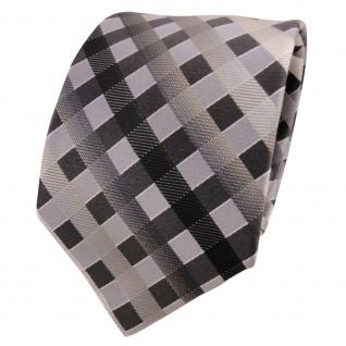 TigerTie Seidenkrawatte grau silber anthrazit schwarz kariert - Krawatte Seide