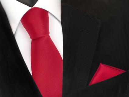 schöne TigerTie Krawatte + Einstecktuch in rot verkehrsrot uni - Binder Tie