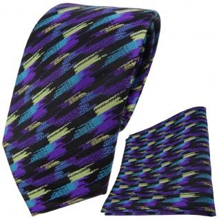 TigerTie Krawatte + Einstecktuch in lila türkis schwarz gold gestreift