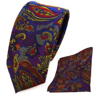 schmale TigerTie Krawatte + Einstecktuch lila blau gold anthrazit Paisley