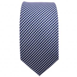 schmale TigerTie Seidenkrawatte blau silber gepunktet - Krawatte Seide Tie - Vorschau 2