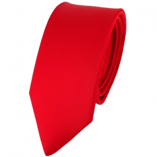 schmale TigerTie Satin Seidenkrawatte in verkehrsrot einfarbig - Krawatte Seide