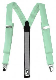schmaler TigerTie Unisex Hosenträger mit 3 extra starken Clips - in mint Uni