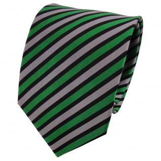 TigerTie Seidenkrawatte grün grau schwarz gestreift - Krawatte Seide Binder