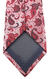 TigerTie Designer Krawatte in rot weinrot rosa anthrazit Paisley gemustert - Vorschau 4