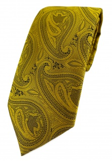 TigerTie Designer Krawatte in gold schwarz Paisley gemustert