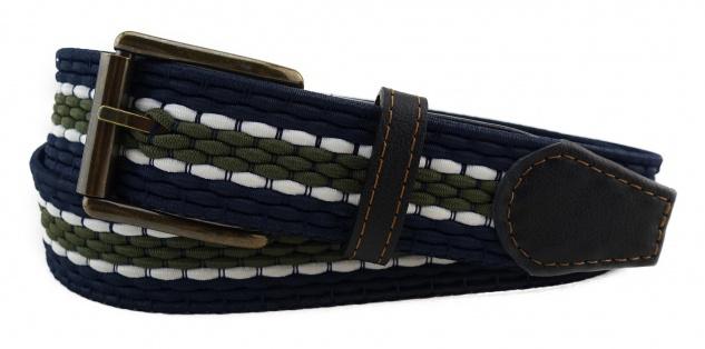 TigerTie - Stretchgürtel blau dunkelblau oliv weiß gestreift - Bundweite 120 cm
