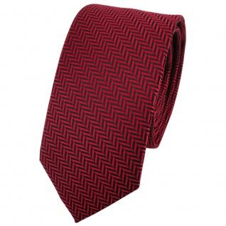 Schmale TigerTie Krawatte rot dunkelrot schwarz gestreift - Binder Tie Schlips