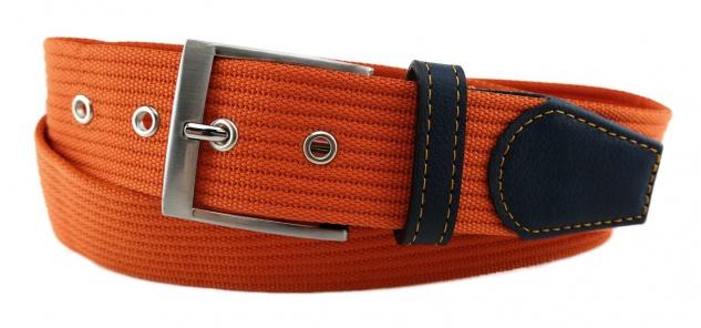 TigerTie - Stoffgürtel in orange tieforange einfarbig - Bundweite 100 cm