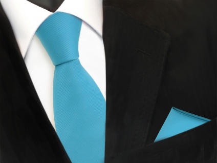 Designer TigerTie Krawatte + Einstecktuch türkis türkisblau Uni Rips - Binder