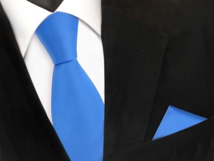 Designer TigerTie Krawatte + Einstecktuch blau himmelblau hellblau Uni Rips - Vorschau 2