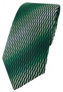 TigerTie Designer Krawatte in grün dunkelgrün schwarz silber gemustert