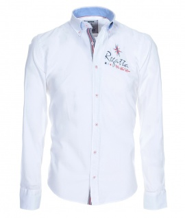 Pontto Designer Hemd Shirt in weiß einfarbig langarm Modern-Fit Gr.S