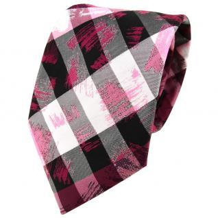TigerTie Designer Krawatte in pink grau silber schwarz gestreift - Tie Binder