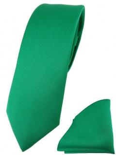 schmale TigerTie Designer Krawatte + Einstecktuch in grün einfarbig uni