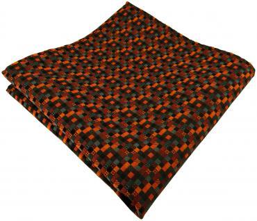 TigerTie Seideneinstecktuch in orange anthrazit schwarz gemustert - 100% Seide