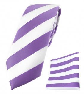 schmale TigerTie Krawatte + TigerTie Einstecktuch in flieder weiss gestreift
