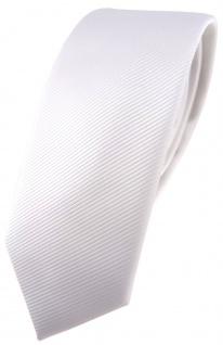 schmale TigerTie Designer Krawatte weiß reinweiß schneeweiß einfarbig uni Rips