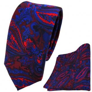 schmale TigerTie Krawatte + Einstecktuch blau rot weinrot lila schwarz Paisley