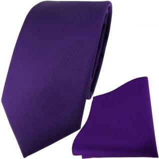 TigerTie Designer Krawatte + Einstecktuch in lila violett einfarbig uni Rips