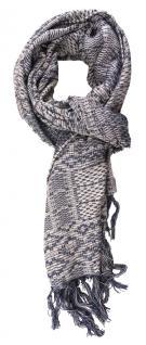 TigerTie Schal in taubenblau grau gemustert mit Fransen - 170 x 50 cm