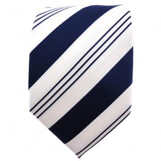 TigerTie Satin Krawatte blau dunkelblau weiß silber gestreift - Binder Schlips - Vorschau 2