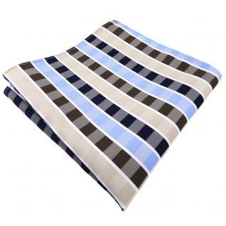 Einstecktuch in beige braun blau hellblau weiß gestreift - Tuch 100% Polyester