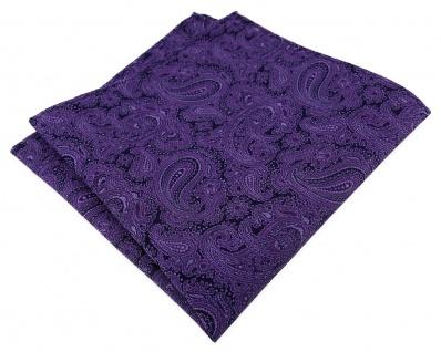 TigerTie Designer Seideneinstecktuch in lila schwarz Paisley gemustert
