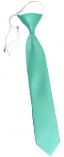 TigerTie Kinderkrawatte in grün mint Uni - Krawatte vorgebunden mit Gummizug