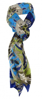 Halstuch in blau türkis braun grau grün Paisley gemustert - Gr 100 x 100 cm