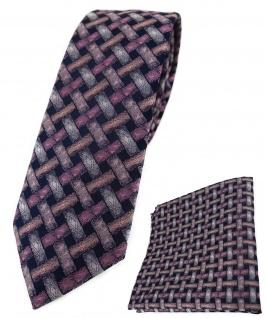 schmale TigerTie Krawatte + Einstecktuch rosa lachs schwarz - Motiv Flechtmuster