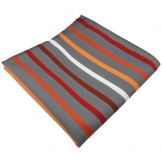 schönes Einstecktuch orange rotbraun silberweiß grau gestreift - Tuch Polyester