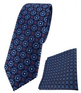 schmale TigerTie Krawatte +Einstecktuch marine blau silber rot schwarz gemustert