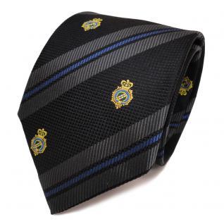 TigerTie Seidenkrawatte schwarz anthrazit blau gestreift Wappen - Krawatte Seide