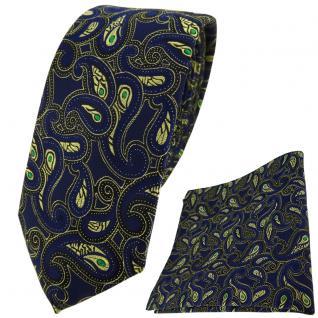 schmale TigerTie Krawatte + Einstecktuch in marine gold grün schwarz Paisley