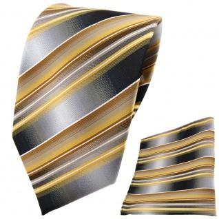 TigerTie Krawatte + Einstecktuch gold gelb silber anthrazit grau gestreift