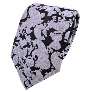 Designer Seidenkrawatte schwarz silber blau Paisley gemustert - Krawatte Seide