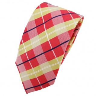 Schmale TigerTie Seidenkrawatte rot beige silber kariert - Krawatte Seide Tie