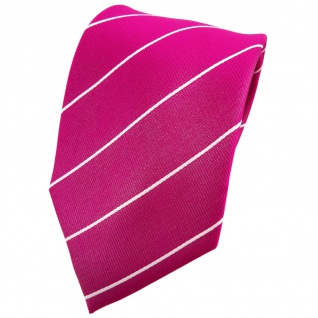 TigerTie Seidenkrawatte magenta fuchsia silber gestreift - Krawatte Seide Tie