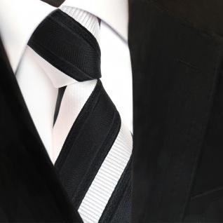 TigerTie Designer Krawatte - Schlips Binder schwarz silber gestreift - Tie - Vorschau 3