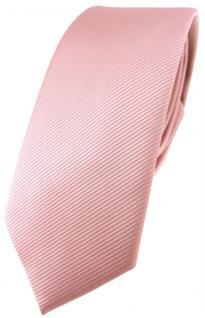 schmale TigerTie Designer Krawatte in rosa altrosa einfarbig uni Rips
