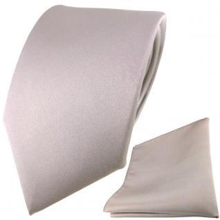 TigerTie Satin Seidenkrawatte + Seideneinstecktuch in grau silber einfarbig Uni