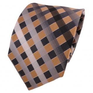 TigerTie Seidenkrawatte gold grau silber anthrazit kariert - Krawatte Seide Silk